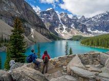 Moraine See, Banff Stockfotos