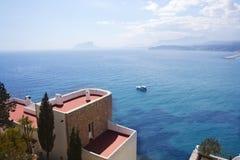 Moraira architecture and mediterranean sea Stock Photo
