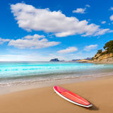 Moraira beach with paddle sufrboard at Alicante. Moraira playa El Portet beach with paddle surfboard at Alicante Spain Stock Images