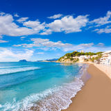 Moraira  beach turquoise water in Alicante Royalty Free Stock Photo