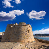 Moraira Castle beach at Mediterranean Alicante Royalty Free Stock Images