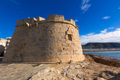 Moraira Castle  beach at Mediterranean Alicante Stock Photo
