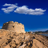 Moraira Castle beach at Mediterranean Alicante Royalty Free Stock Image