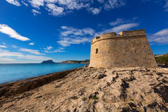 Moraira Castle beach at Mediterranean Alicante Royalty Free Stock Photos