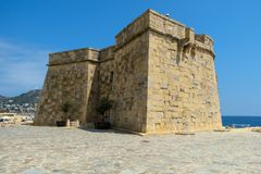 Moraira castle facing out towards the Mediterranean, Costa Blanca, Spain. Moraira Castle once defended the town from invasion from the sea. It still looks out Stock Image