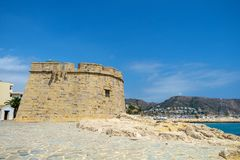 Castillo de Moraira, Moraira, Costa Blanca, Spain. Moraira Castle on the seafront at Moraira. This castle has a commanding view of the bay and once offered Stock Images