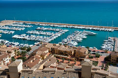 Moraira Club Nautico marina aerial view in Alicante Stock Photo