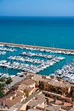 Moraira Club Nautico marina aerial view in Alicante Stock Images