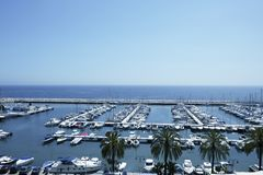 Moraira marina seascape in Alicante Spain Royalty Free Stock Images