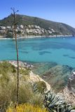 Moraira mediterranean turquoise sea high view Royalty Free Stock Photos