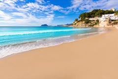 Moraira playa El Portet海滩在阿利坎特 免版税库存照片