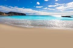Moraira Playa la Ampolla海滩阿利坎特西班牙 库存图片