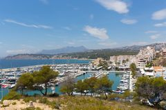 Moraira Spain marina with boats on the Costa Blanca near El Portet. In summer Royalty Free Stock Images