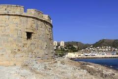 Moraira Teulada Alicante Schloss Mittelmeer Stockbilder
