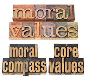 Moral compass - ethics concept. Moral values, moral compass, core values - ethics concept - a collage of  isolated phrases in  vintage letterpress  wood type Stock Image