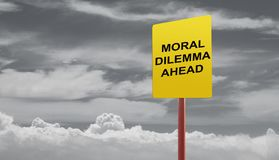 Moral dilemma ahead signage. On a stormy clouds concept Stock Image