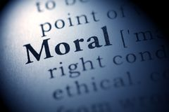 Moral. Fake Dictionary, Dictionary definition of the word Moral Stock Photography