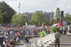 Moral Monday Rally Crowd and Speaker in Asheville Stock Image
