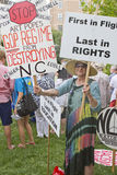 Moral Monday Signs Protesting North Carolina GOP Politics Stock Photo