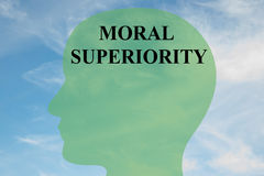 Moral Superiority concept. Render illustration of `MORAL SUPERIORITY` script on head silhouette, with cloudy sky as a background Stock Images