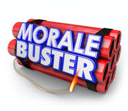 Morale Buster Dynamite Bomb Bad Motivation Discouragement. Morale Buster 3d words on a bundle of dynamite sticks to illustrate poor motivation and discouragement Royalty Free Stock Photo