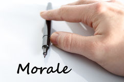 Morale text concept. Isolated over white background Stock Images