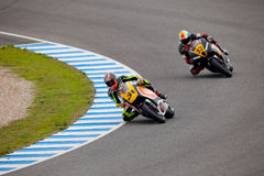 Morales and Martinez pilot of MOTO2 in the CEV Royalty Free Stock Images