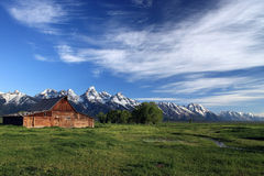 Moran Barn. Horizontal view of Moran Barn in Grand Teton National Park in Wyoming on early spring morning Royalty Free Stock Photo