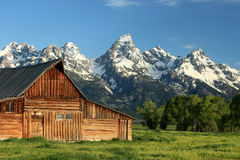 Moran Barn. Close-up of Moran Barn in Grand Teton National Park in Wyoming on early spring morning Stock Photos