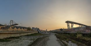 Morandi collapsed bridge in genoa royalty free stock photography