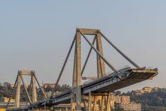 Morandi collapsed bridge in genoa stock photography