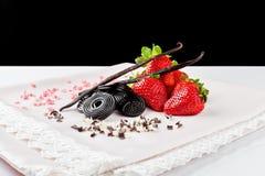 Morango, alcaçuz, baunilha e chocolate Foto de Stock