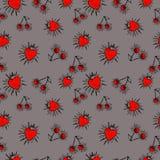 A morango, cereja, pulveriza o teste padrão sem emenda Foto de Stock Royalty Free