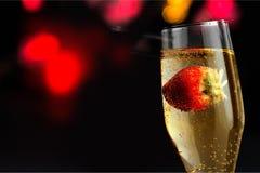 Morango Champagne Fotografia de Stock
