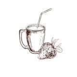 Morango Coleção dos sucos Ilustração desenhada mão do vetor Objetos isolados no branco ilustração stock
