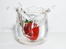 Morango e água fotos de stock