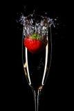 Morango e champanhe Fotos de Stock Royalty Free