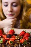 Morango e chocolate Fotografia de Stock Royalty Free