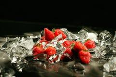 Morango e gelo Foto de Stock