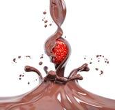 Morango em espirrar a rendição do chocolate 3d Imagem de Stock Royalty Free