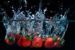 A morango fresca deixou cair na água com respingo no backgro preto Imagens de Stock