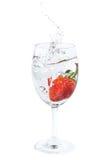 A morango fresca deixou cair na água no vidro de vinho com respingo Fotografia de Stock Royalty Free