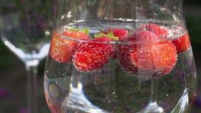 A morango gerencie em um vidro com água filme