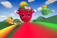 Morango, laranja e maçã voando sobre os montes Imagens de Stock