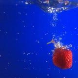 Morango na água Imagem de Stock Royalty Free