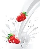 Morango no leite Fotos de Stock Royalty Free