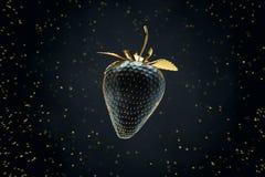 Morango preta que flutua no ar 3d rendem Imagem de Stock