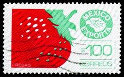 Morango, serie das exportações de México, cerca de 1983 foto de stock