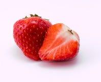 Morango vermelha no fundo branco Fotos de Stock