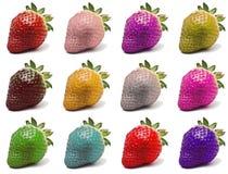 Morangos coloridas Imagens de Stock